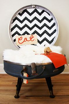 DIY pet bed- this one is for cats but it could also work for a small dog!