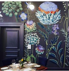 Oversized wall flowers mural