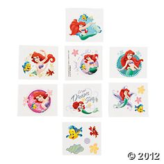 Little Mermaid Tattoos, Tattoos & Body Art, Novelty Jewelry, Party Themes & Events - Oriental Trading
