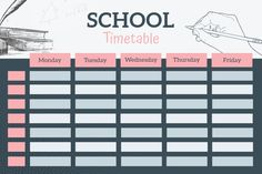 Class Schedule Template, Schedule Design, School Schedule, Planner Template, Printable Planner, Life Hacks For School, School Study Tips, Study Timetable Template, School Timetable