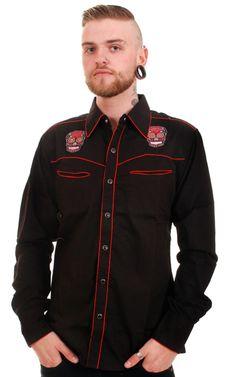 black boys western shirt | ... > Mens Black Rockabilly Mexican Sugar Skull Tattoo Western Shirt
