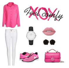 """""""Feel comfy in pink"""" by joanabonjour on Polyvore featuring Burberry, NIKE, Erica Lyons, CLUSE, Lime Crime, Fendi and GALA"""