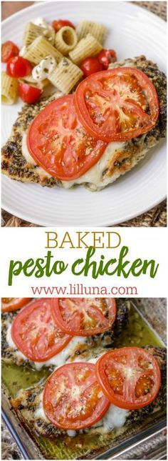 Baked Pesto Chicken - Chicken breast halves covered in basil pesto, baked with mozzarella cheese and tomatoes. So easy, but SO delicious!