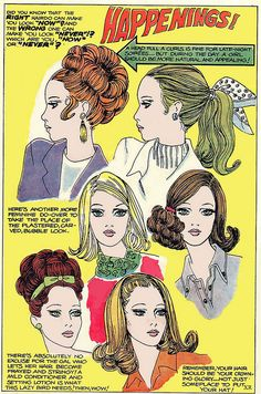 """Todays hair inspiration from this magazine illustration. We love the text """" The right hairdo can make you look now and the wrong can make you look never, which are you now or never? Vintage Makeup, Vintage Beauty, Vintage Fashion, 1960s Fashion, 1960s Makeup, Makeup Ads, Look Vintage, Vintage Ads, Pelo Retro"""