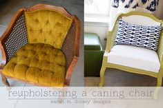 sarah m. dorsey designs: Chartreuse and White Caning Chair Finished!.. LOOK WHAT A DIFFERENCE ..!!