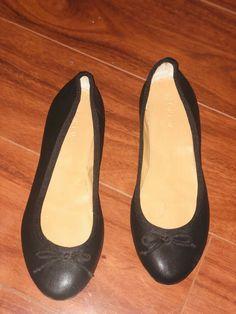52e4e7a3e96 J Crew Black Leather Bow Ballet Flats Classic Womens Size 7  fashion   clothing