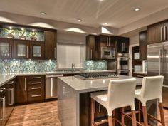 Tile backsplash and dark cabinets