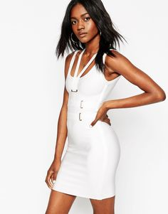 ASOS SCULPT Premium Bandage Double Strap Eyelet Bodycon Dress