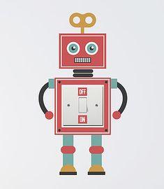 Robot Light Switch Wall Sticker