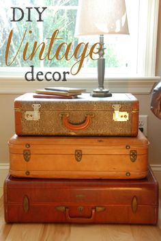 Vintage suitcases turned family room end table -- antique thrift store shopping success!