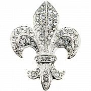Silver Fleur-De-Lis Sign Pin Brooch And Pendant(Chain Not Included)