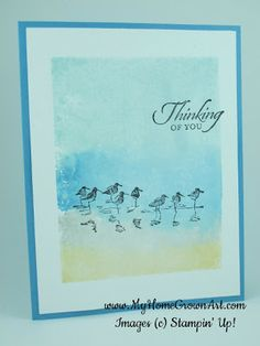 Watercolor background: Color a clear block with Stampin' Write markers, spritz with water, and stamp onto Whisper White card stock.