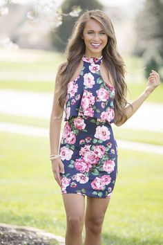 This stunning bodycon dress is such a showstopping look! Featuring a classic floral print in navy, coral, white, hot pink, dark green, black, and blush, this look is so timelessly sweet! And the style