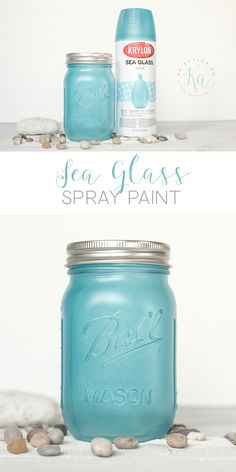 Krylon Aqua Sea Glass Spr - Diy How to Crafts Mason Jar Crafts, Mason Jar Diy, Bottle Crafts, Beach Crafts, Diy Crafts, Resin Crafts, Fall Crafts, Craft Projects, Projects To Try