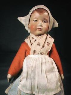 "10"" Bing German Girl Cloth Doll Original Outfit"