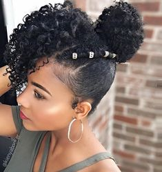 Curly Bun: Natural Hair Bun Styles Want to know how to style a natural hair bun? If you have curly natural hair you've come to the right place! Read on these techniques and styling ideas and tips Natural Hair Bun Styles, Natural Hair Updo, Natural Hair Journey, Curly Hair Styles, Ponytail Styles, Braided Ponytail, Natural Hair Styles For Black Women, Latest Hairstyles, Afro Hairstyles