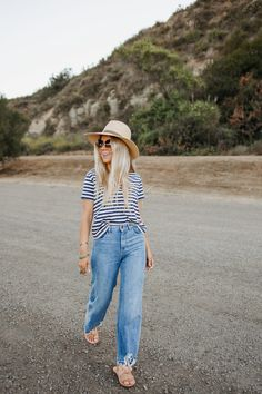 dd8351d43 Lisa Allen of Salty lashes wearing a stripe Madewell shirt with gaucho 1961  jeans, Beek