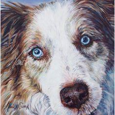 Un portrait de chien Shepard aux yeux bleus clair et cristallins avec une fourrure blanche noisette et crème Creative Art, Corgi, Images, Cool Stuff, Art Ideas, Prints, Animals, Light Blue Eyes, Blue Eyes