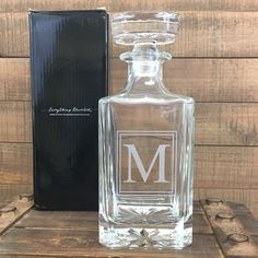 Classic single letter monogram all glass whiskey decanter with gift box