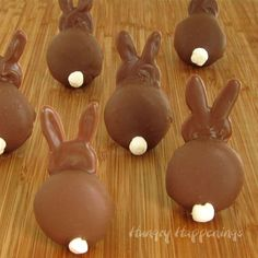 Chocolate Bunny Silhouettes- made using vanilla wafer cookies, chocolate & marshmallows for the tails.