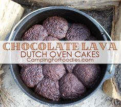 Chocolate Lava Dutch Oven Cakes Fit For A Feast! Chocolate Lava Dutch Oven Cakes Fit For A Feast! Pour this batter into cupcake wrappers in your camp Dutch oven and they bake in 10 minutes! This is just one of our Dutch oven recipes for camping! Camping Desserts, Camping Dishes, Camping Meals, Camping Recipes, Camping Cooking, Backpacking Meals, Camping Kitchen, Camping Checklist, Camping Tips