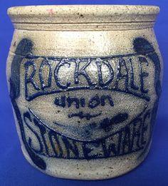 1985 Rockdale Union Stoneware Pottery Jar VIntage Salt Glaze Cobalt Blue No Lid #RockdateUnionStoneware