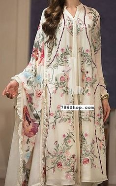 best=Off White Georgette Chiffon Suit Buy Pakistani Indian Dresses She Bridal Unusual Dresses, Stylish Dresses, Elegant Dresses, Fashion Dresses, Fashion Clothes, Women's Fashion, Off White Wedding Dresses, Desi Wedding Dresses, Pakistani Dresses Online Shopping