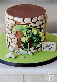 Incredible Hulk Cake- for when our group goes to nationals? :)