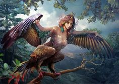 Обои Сирин - темная птица, темная сила, посланница властелина подземного мира, сидит на дереве, расставив в стороны руки крылья, славянская мифология, by Vasylina
