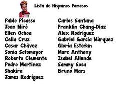 Hispanos Famosos - Project for Spanish Class