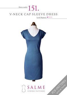 Pattern no 151 V-neck cap sleeve dress