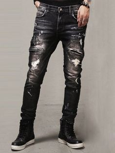 $16.46 Zipper Embellished Scratched Ripped Jeans