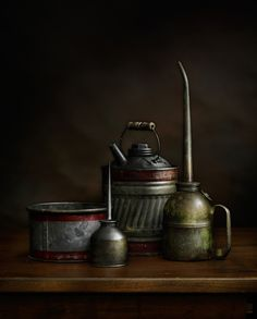 Oil Cans #4, photograph by Harold Ross. Light Painting, Still Life, Sculpting with Light, Light Painting, Vintage tools, Vintage machinery