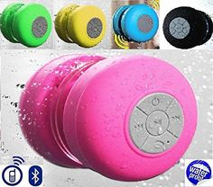 Waterproof Bluetooth Speaker Unique water-proof design, using in bathroom,beach,swimming pool,wash room,fishing trip,Boat trip etc.Also suitable for car,bedroom,kitchen,office,vacation etc. Special suction cup design, could sucked on any flat surface including desk,wall,window,back side of phone or tablet 1x Waterproof Bluetooth speaker,1x Case,1x User Manual,1x Charging Cable.