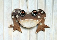 Frog Ornament Recycled Hand Made Frog by KingsBenchCreations, $15.00