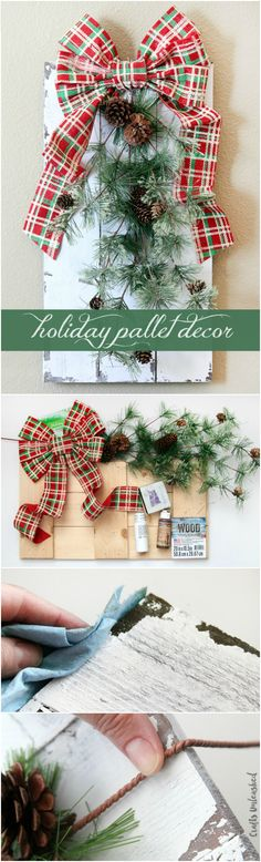 The rustic DIY holiday decor pallet can be used as a wall-hanger, on the front door as a fun wreath alternative, or displayed on the mantle.