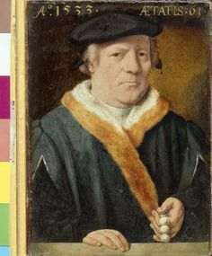 Portrat of a man, aged 61, Bartholomaeus Bruyn the Elder, paint on panel, 1533, Cologne, Germany.