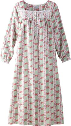 Lanz cottage rose cotton flannel nightgown made with 100 percent cotton will keep you warm on cool nights. Make this night dress a newfound seasonal favorite.