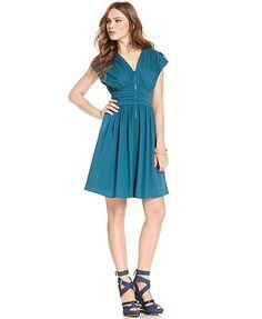 Bar III Dress, V-Neck Short-Sleeve Pleated A-Line