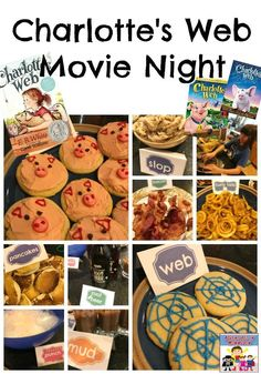 Did you read the childhood classic Charlotte's Web? It's a classic for a reason and our Charlotte's Web movie night was a blast. Charlottes Web Movie, Charlottes Web Activities, Web Themes, Food Themes, Movie Themes, Party Themes, Charlotte's Web Book, Disney Inspired Food, Web Activity