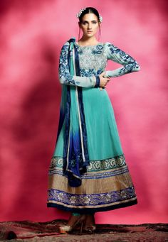 Aqua Blue Faux Georgette Semistitched Churidar Anarkali Kameez @ $172.35