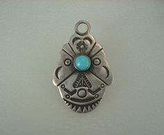 RARE OLD Fred Harvey era STAMPED STERLING SILVER & TURQUOISE KEY FOB PENDANT
