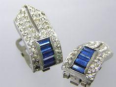Cotume Jewelry Rodium Plate Art Deco Rhinestone Fur Dress Shoe Clips teamvintageusa ecochic team
