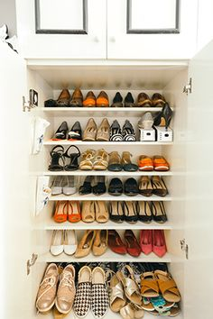 Since the owner loves collecting shoes, a cabinet was dedicated to keeping her favorite pairs in tip-top shape. It also features a motion-activated light from IKEA so that she can organize and find what she needs minus the hassle. Condo Interior Design, Condo Design, Interior Design Inspiration, House Design, Studio Design, Small Rooms, Small Apartments, Small Spaces, Condominium Interior