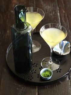 Kaffir Lime & Green Apple Martinis