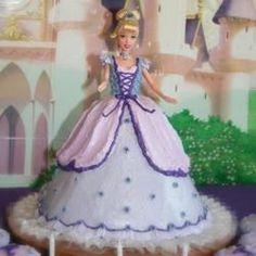 Barbie Doll Cake (using box cake mix l Barbie Cake, Barbie Party, Barbie Dolls, Barbie Princess, Princess Party, Tangled Princess, Princess Birthday, White Frosting, Box Cake Mix