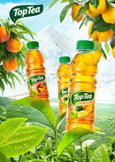 Top Tea on Behance Food Graphic Design, Food Poster Design, Creative Poster Design, Ads Creative, Creative Posters, Creative Advertising, Advertising Design, Ad Design, Label Design