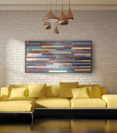 Beautiful large modern wood wall art handmade and customizable..... The palette used here would definitely bring a pop of color to any room!