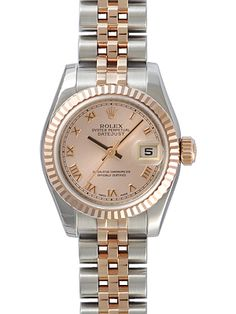 Rolex Datejust Pink Roman Dial 18k Rose Gold Fluted Bezel Two Tone Ladies Watch 179171PRJ