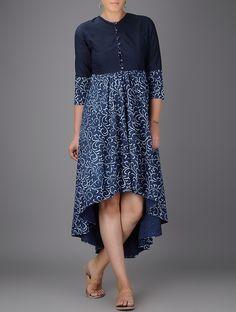 Buy Indigo Ivory White Block printed Asymmetrical Khadi Dress Women Dresses Online at Jaypore.com